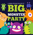 halloween monster party banner template with cute vector image