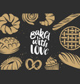 hand drawn typography design with bread pastry vector image