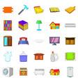 handy icons set cartoon style vector image vector image