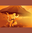 hanuman lifting up dronagiri mountain vector image