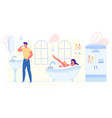 happy family morning routine loving couple hygiene vector image vector image