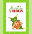 happy holidays christmas greeting card with elf vector image vector image