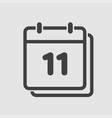 icon calendar day number 11 line flat vector image vector image