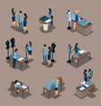 isometric girl tailor a set of mini concepts for vector image vector image