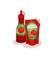ketchup in plastic bottle and soft package vector image