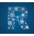 Letter R font frosty snowflakes vector image