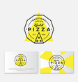 logo pizza gold simple linear stamp pizzeria vector image