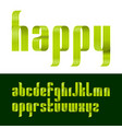 lowercase letters font from a green ribbon vector image vector image