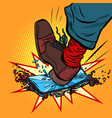 man breaks the phone with his foot vector image vector image