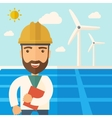 Man in solar panel and windmills vector image