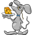 mouse with cheese cartoon vector image