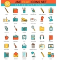 Office stationery flat line icon set vector image