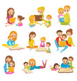 parents reading books to they kids together set vector image vector image