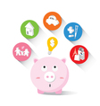 Piggy bank and icons design to represent the conce vector image vector image