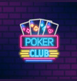 poker neon sign design flat vector image vector image