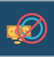 refund flat icon no refunds vector image vector image