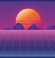 retro background futuristic landscape design vector image