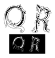 Retro capital letters Q and R vector image