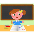schoolgirl and blank black board vector image vector image