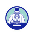 scientist looking through microscope mascot vector image
