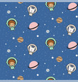 seamless pattern with cute boy astronauts and vector image