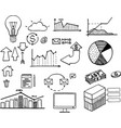 set hand drawn business vector image