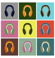set icons in flat design headphones vector image