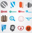 Set of alphabet symbols of letter U vector image vector image
