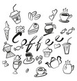 set of coffee and tea icons handmade vector image