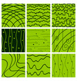 set of color hand-drawing wave sea background vector image vector image