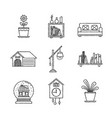 set of interior icons and concepts in sketch style vector image