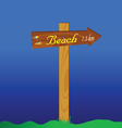 signboard for the beach vector image vector image