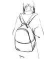sketch of schoolgirl with backpack from back vector image vector image
