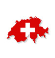 Switzerland flag map with shadow effect vector image vector image