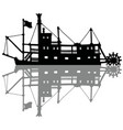 the black silhouette of a historical riverboat vector image