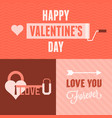 valentine day card and background set vector image vector image
