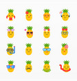 variety pineapple icon set vector image vector image
