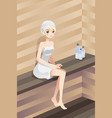 woman in sauna vector image