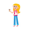 young pretty blond woman with broken arm in sling vector image vector image