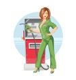 Beautiful girl on gas pump vector image