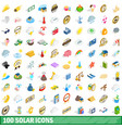 100 solar icons set isometric 3d style vector image vector image
