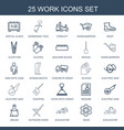 25 work icons vector image vector image