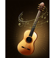 A brown guitar with musical notes vector image vector image