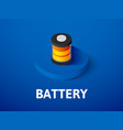 battery isometric icon isolated on color vector image vector image