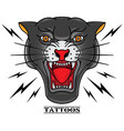 black panther tattoo old school vector image vector image