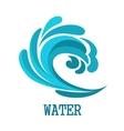 Blue curly ocean wave symbol vector image vector image