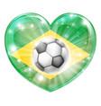 brazil soccer heart flag vector image vector image