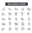 builders line icons for web and mobile design vector image vector image