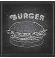 burger scetch on a black board vector image vector image