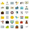 business icons set flat style vector image vector image